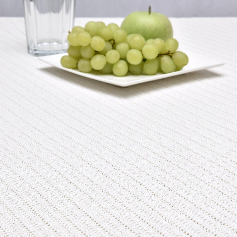 Beautissu Lena Waterproof Garden Table Cloth Rectangular 130x160 cm White Outdoor Table Cloth Washable PVC Foam