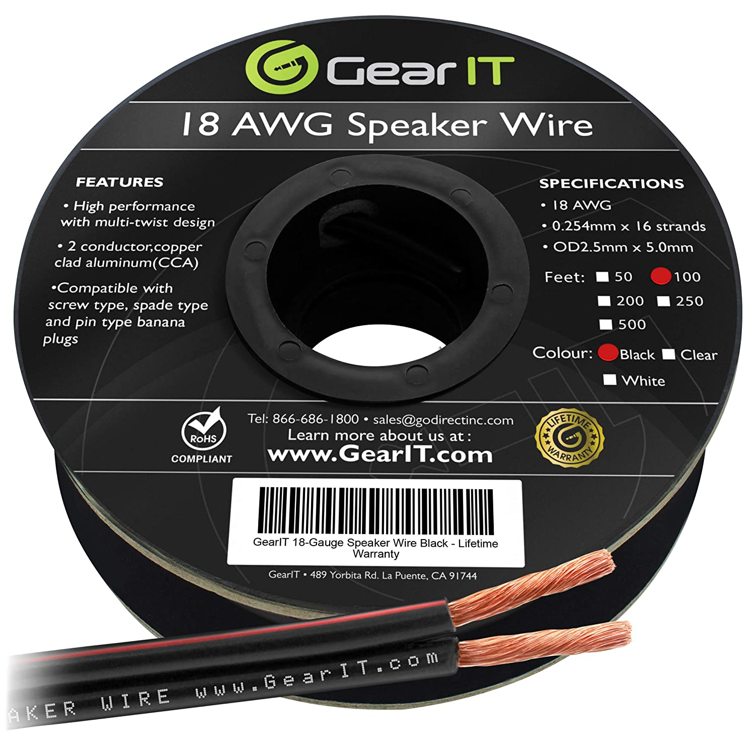 18AWG Speaker Wire, GearIT Pro Series 18 AWG Gauge Speaker Wire Cable (100 Feet / 30.48 Meters) Great Use for Home Theater Speakers and Car Speakers Black