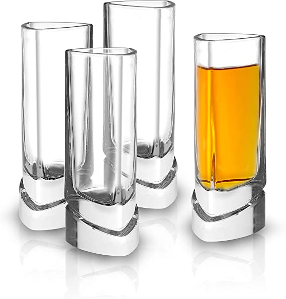 JoyJolt Aqua Vitae Shot Glass Set of 4. Lead Free Crystal Shot Glasses