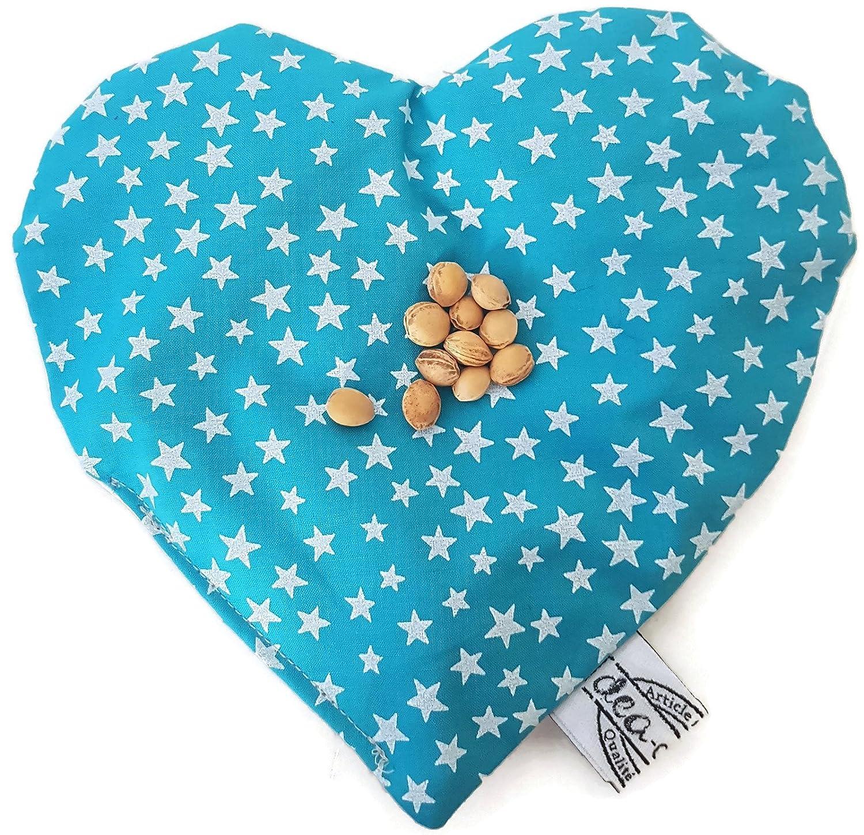 dea-concept enfant - bouillotte sèche noyaux de cerise - coton turquoise imprimé d'étoiles blanches - fait main