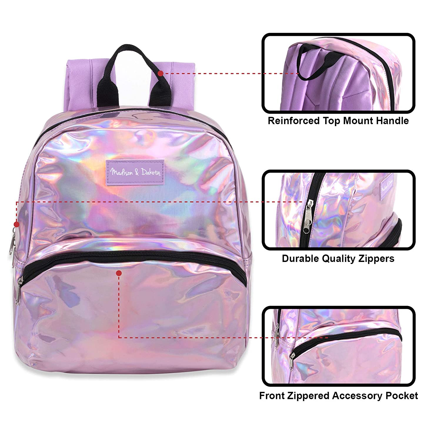 Holographic Laser Leather and Shiny Glitter Mini Backpacks for Women /& Girls/' for Travel College /& Work