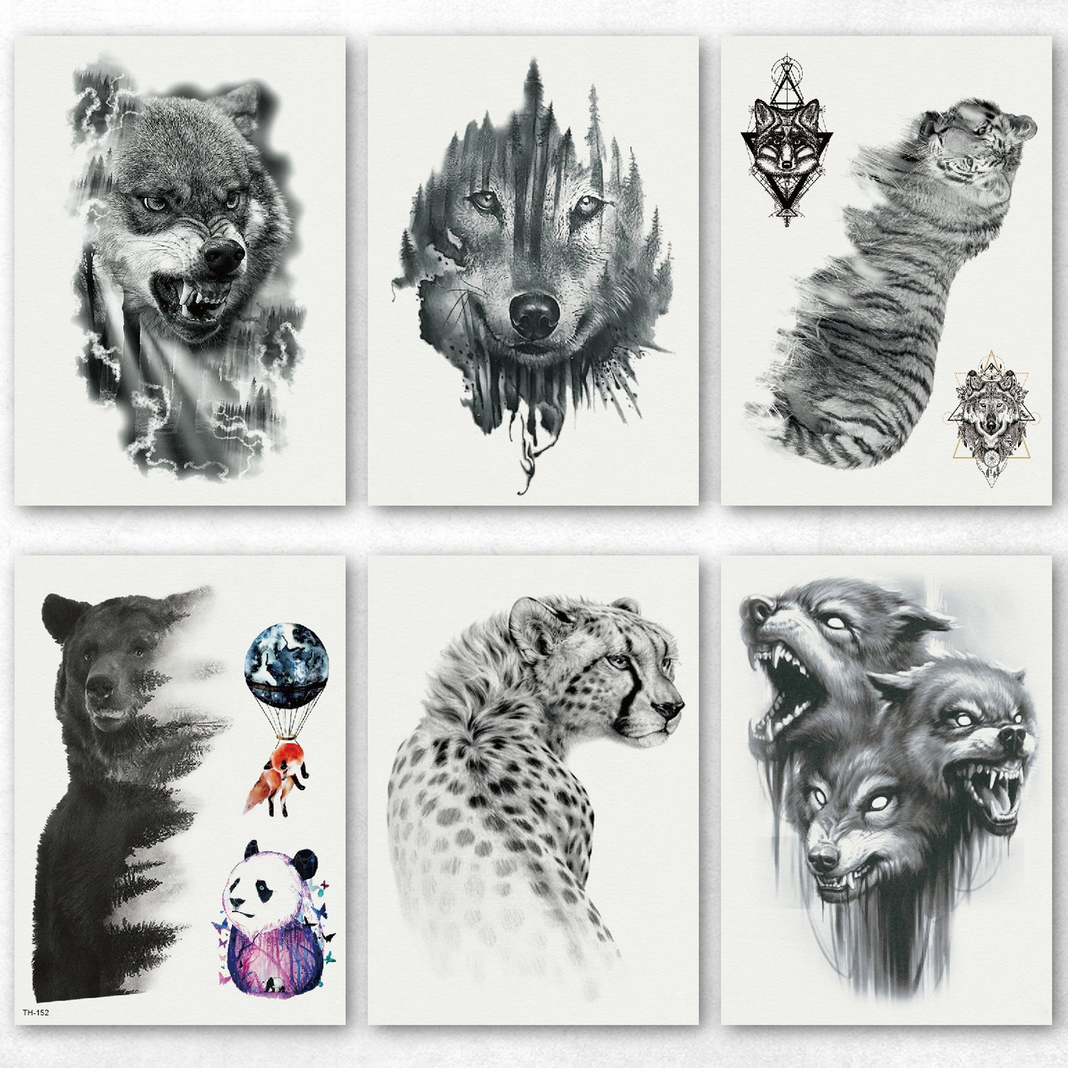 50d164954 Amazon.com: Kotbs 6 Sheets Large Temporary Tattoo Black Strong Wolf Tiger  Tattoo Sticker for Men Women Guys Waterproof Body Art Makeup Fake Tattoos:  Beauty