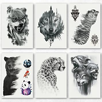 db88fc9f8 Kotbs 6 Sheets Waterproof Temporary Tattoos for Men Women Body Art Tattoo  Sticker Fake Tattoos Wolf, Tiger, Bear Patterns: Amazon.ca: Beauty