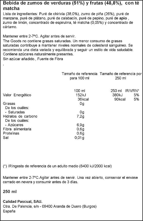 The Goods Smoothie Vegetal Verde de Zumos de Verduras y ...