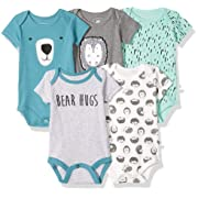 Rosie Pope Kids' Toddler Baby 5-Pack Bodysuits, Green Bear, 3-6 Months