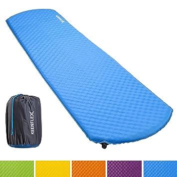 KeenFlex Esterilla Camping Auto Inflable de 4 cm Grosor Resistente al Agua colchón de Camping para excursiones, mochileros, Exteriores