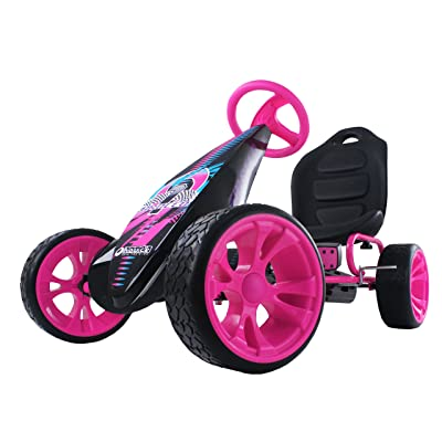 Hauck Sirocco - Racing Go Kart | Pedal Car | Low profile rubber tires | Pedal power auto-clutch free-ride | Adjustable seat - Pink: Toys & Games