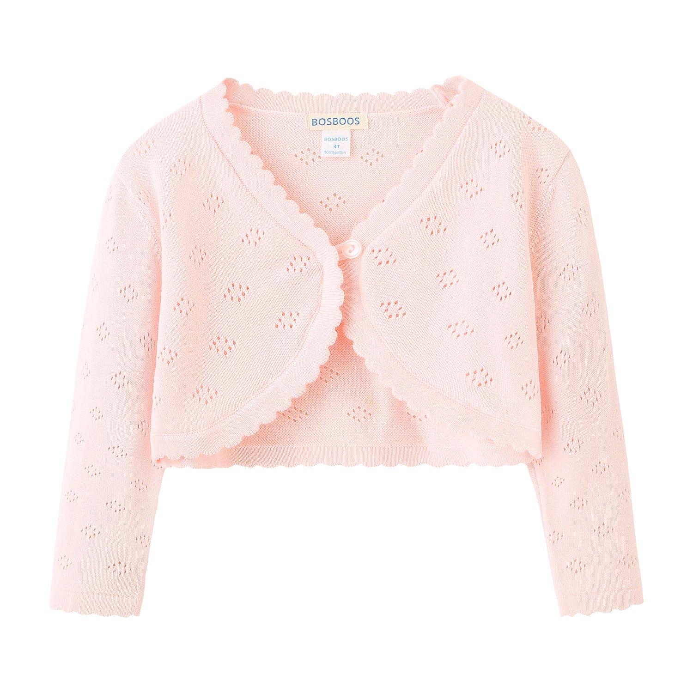 Little Girls' Long Sleeve Cotton Solid Knit Bolero Cardigan Shrug (4T, Pink)