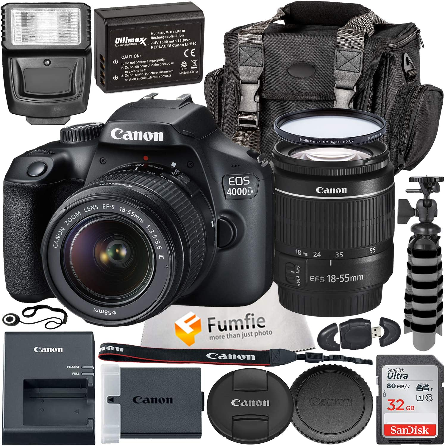 Canon EOS 4000D w/EF-S 18-55mm f/3.5-5.6 III Lens with Professional Accessory Bundle