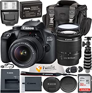 Canon EOS 4000D w/EF-S 18-55mm f/3.5-5.6 III Lens with Professional Accessory Bundle - Includes: Spare LPE10 Battery, Slave Flash, Large Gadget Bag with Dual Buckles & Much More