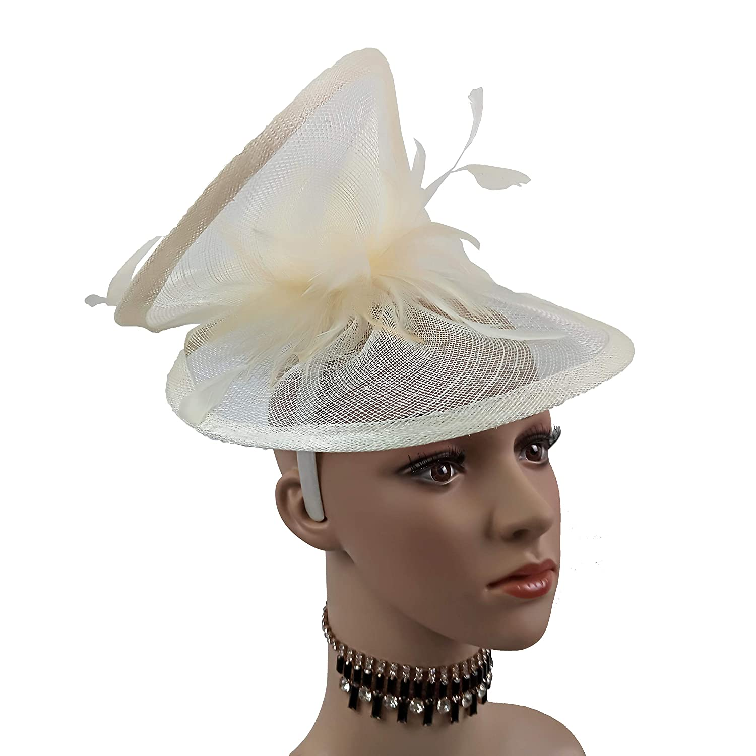24df403c591d2 ABPF Sinamay Heart Fascinator Headband Hats Floppy Feather Wedding Derby  Racing Fascinator Hat at Amazon Women s Clothing store