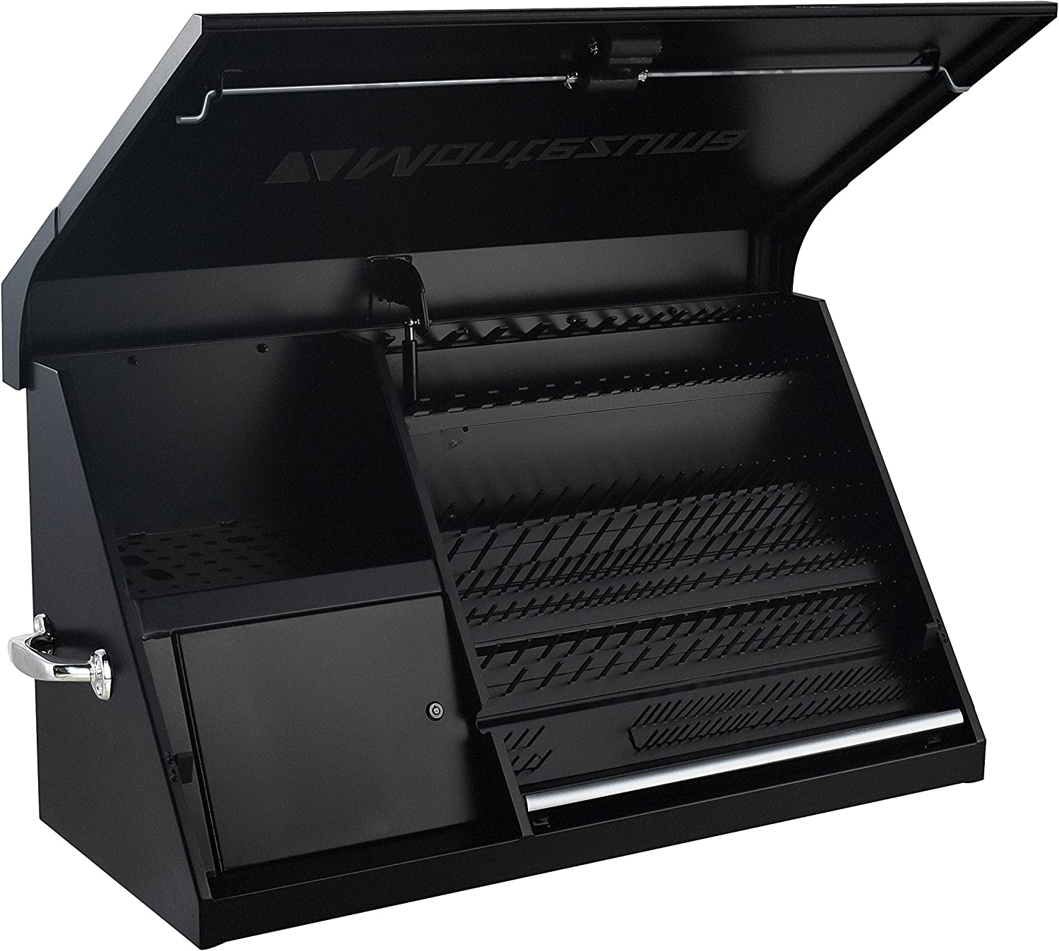 Montezuma – DX411FB – 41-Inch Portable TRIANGLE Toolbox – Multi-Tier Design – Heavy-Duty Steel Construction – SAE and Metric Storage Chest – Weather-Resistant Toolbox – Lock and Latching System