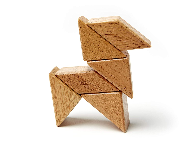 6 Piece Tegu Pocket Pouch Prism Magnetic Wooden Block Set, Mahogany