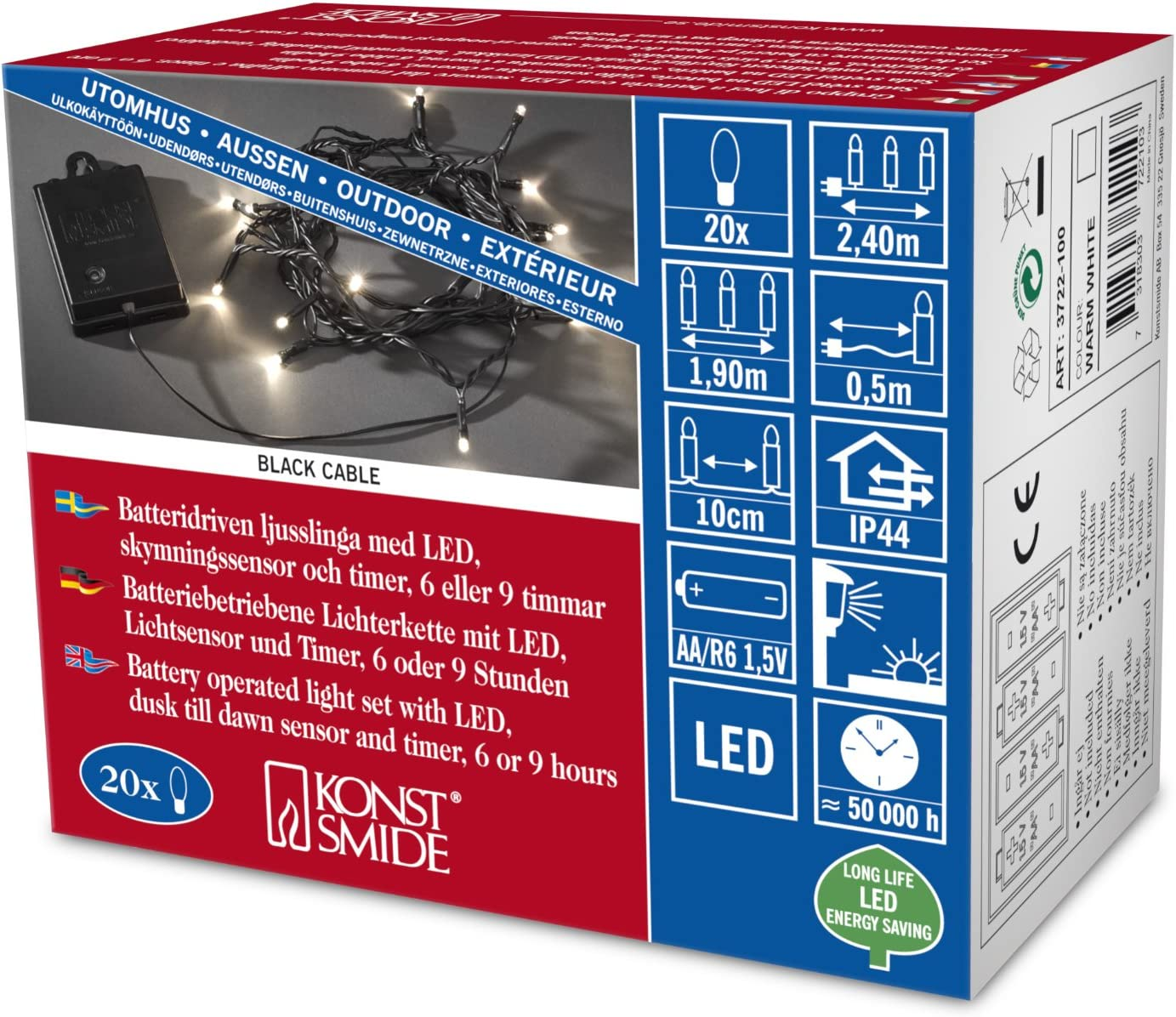 Konstsmide 3722-100 Guirlande 20 LED Blanc Chaud Interrupteur D/étecteur Cr/épusculaire 1,5 V