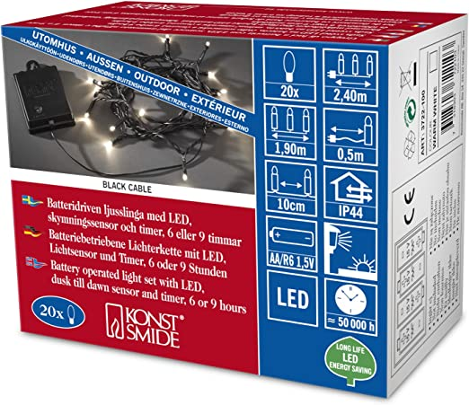 Timer außen 6m bunt Konstsmide LED Lichterschlauch mit Sensor u