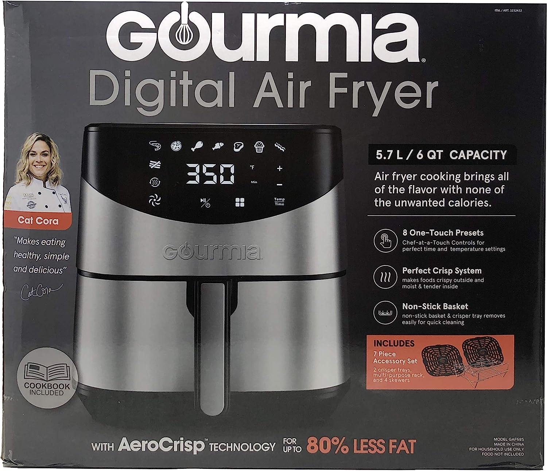Free Shipping New Stainless Black Gourmia 6qt Digital Air Fryer