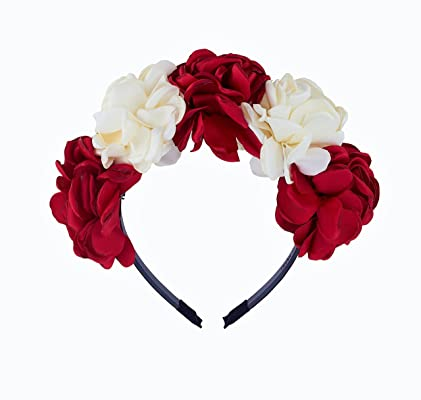 Be Unique Bowtique, Headband, Red and Ivory Silk Flowers