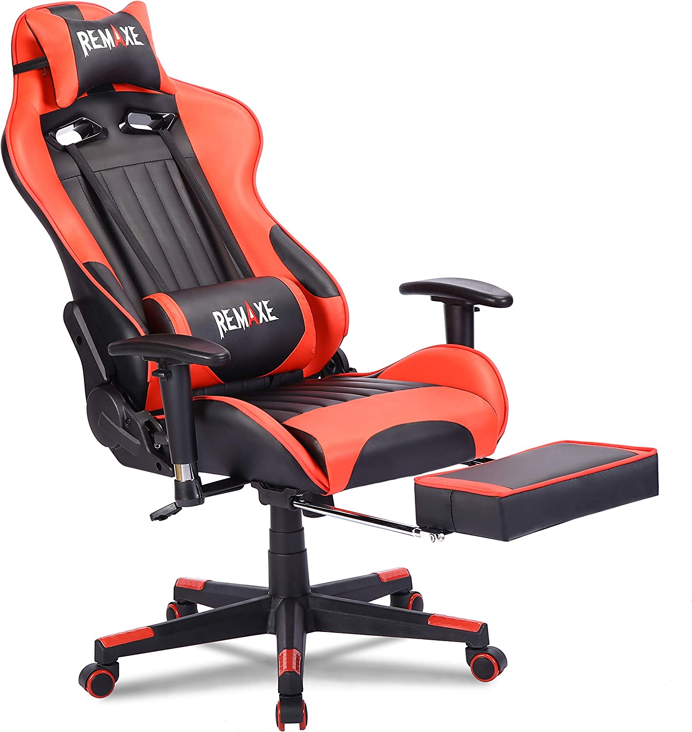 Gaming Chair with Footrest,Computer Gaming Chair High-Back Racing Chair,PU Leather Executive Office Chair with Headrest & Massage Lumbar Pillow,Red