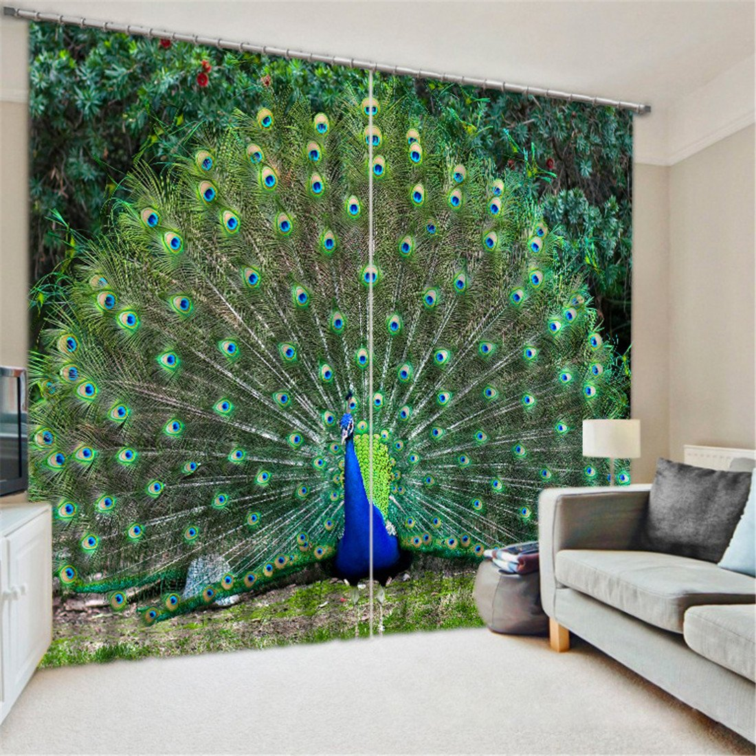 LB 2 Panels Room Darkening Thermal Insulated Blackout Window Curtains,Peacock Spread His Tail 3D Window Drapes for Living Room Bedroom - 104 Inch Width by 84 Inch Length