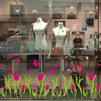 Fleurs Tulipes Fleurs Chaude Vitrine De Verre De Decalques Longeant