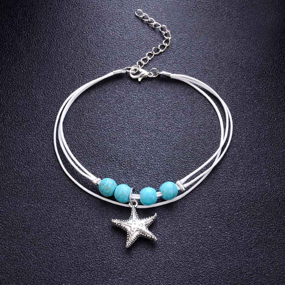 Bluelans Anklets Boho Multilayer Sea Star Beads Charm Anklet Bracelet Ankle Women Summer Beach Sandals Barefoot Jewelry Valentines Day//Wedding//Party//Anniversary//Holiday//Mothers Day//Birthday Gifts
