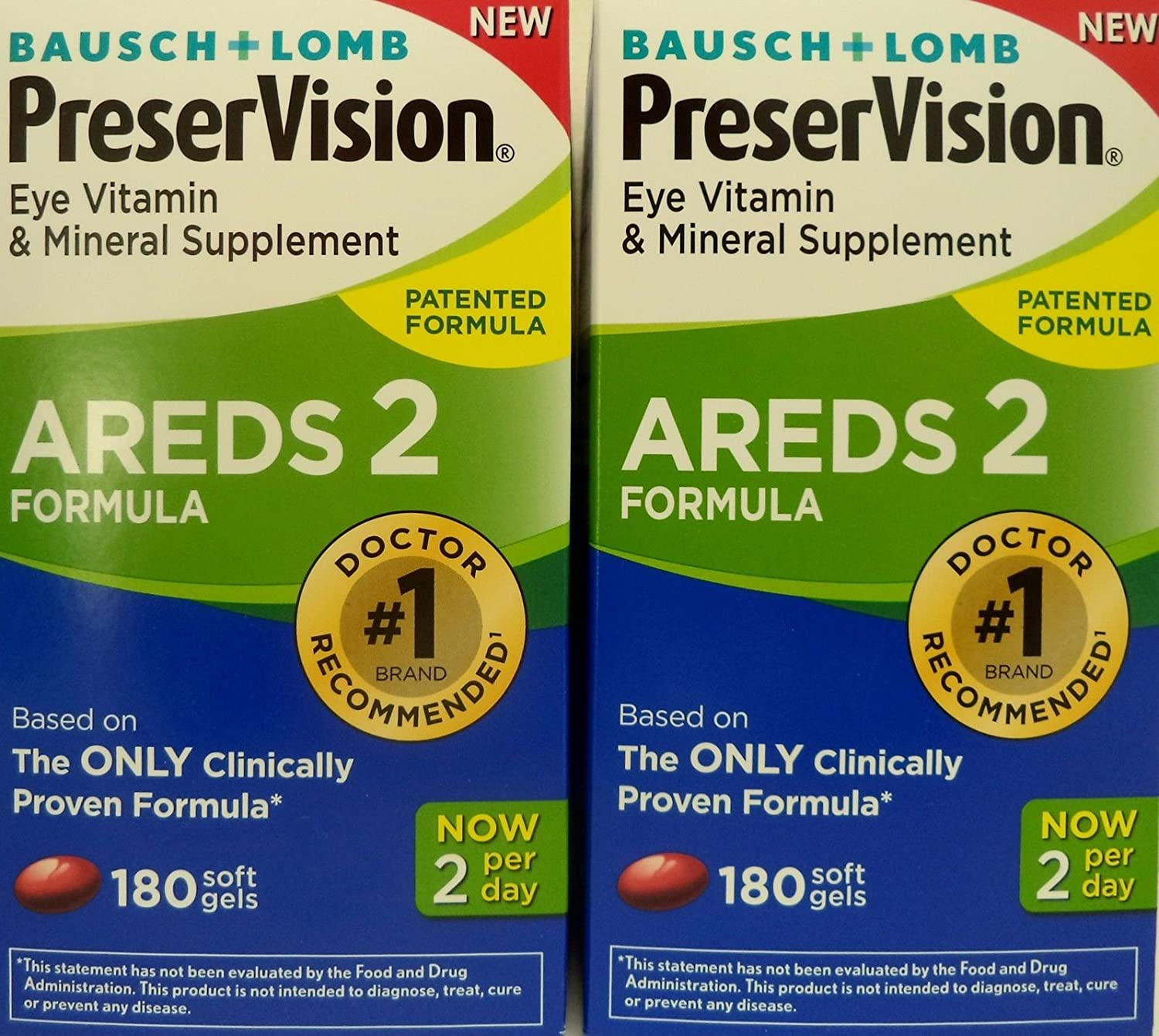 PreserVision AREDS 2 Eye Vitamin Mineral Supplement with Lutein and Zeaxanthin, Soft Gels, 2Pack 180ct each