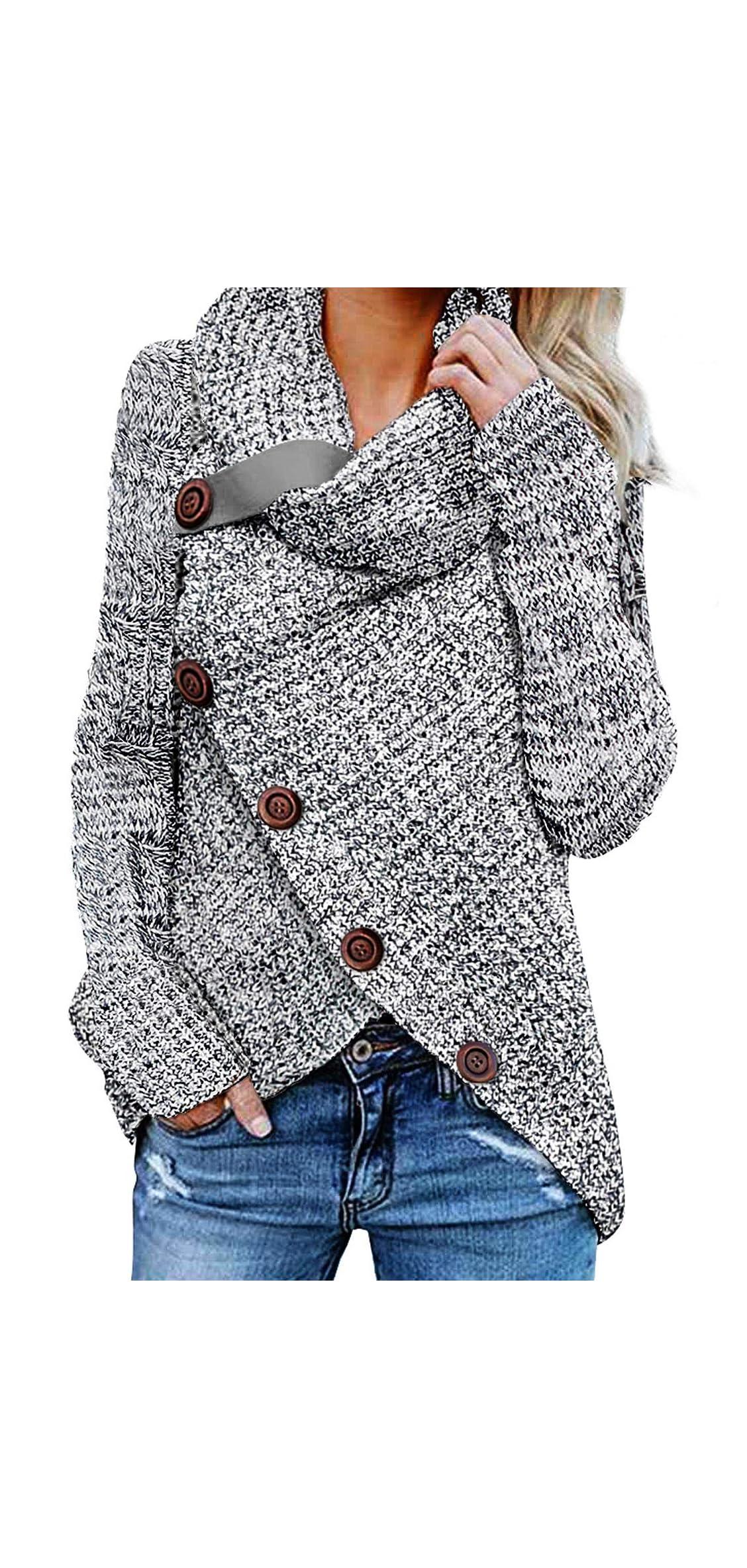 Women's Chunky Turtle Cowl Neck Asymmetric Hem Wrap Coat