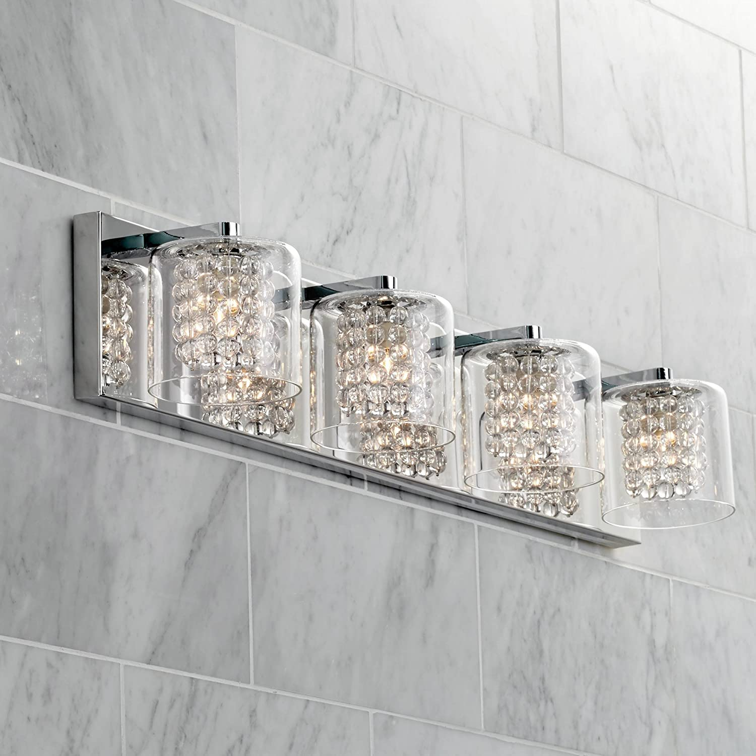 Coco Modern Wall Light Chrome Hardwired 28 1 2 Wide 4-Light Fixture Clear Glass Crystal Strands for Bathroom Vanity – Possini Euro Design