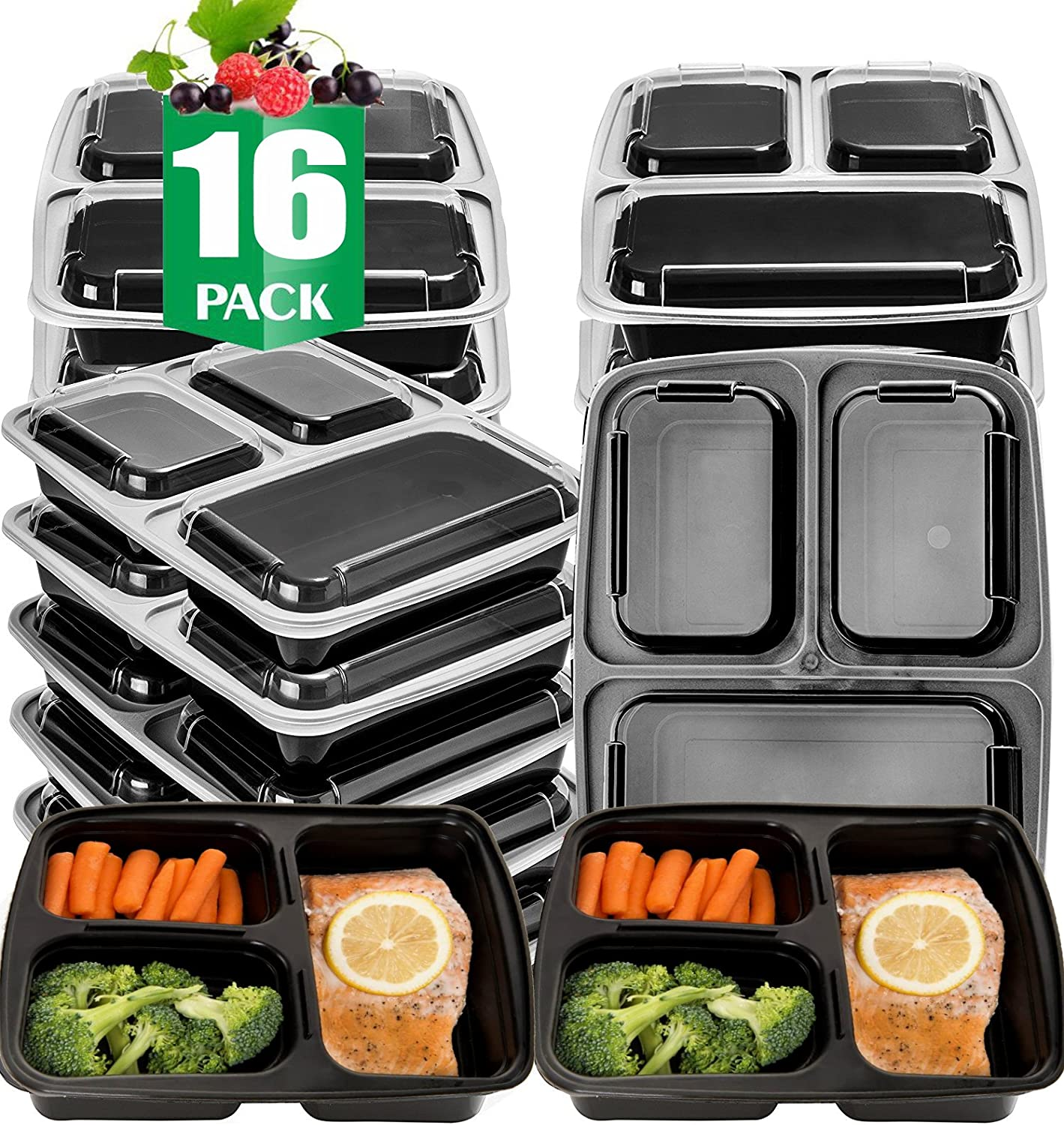 Meal Prep Microwavable Food Containers with Lids Reusable BPA Free 10 Set 32 Oz