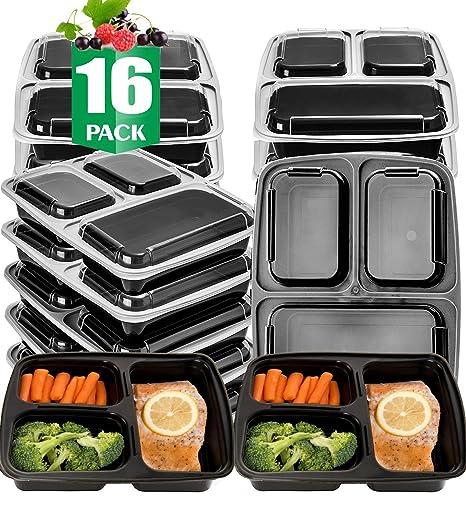 Amazon.com: Paquete de 16 de contenedores de comida 3 ...