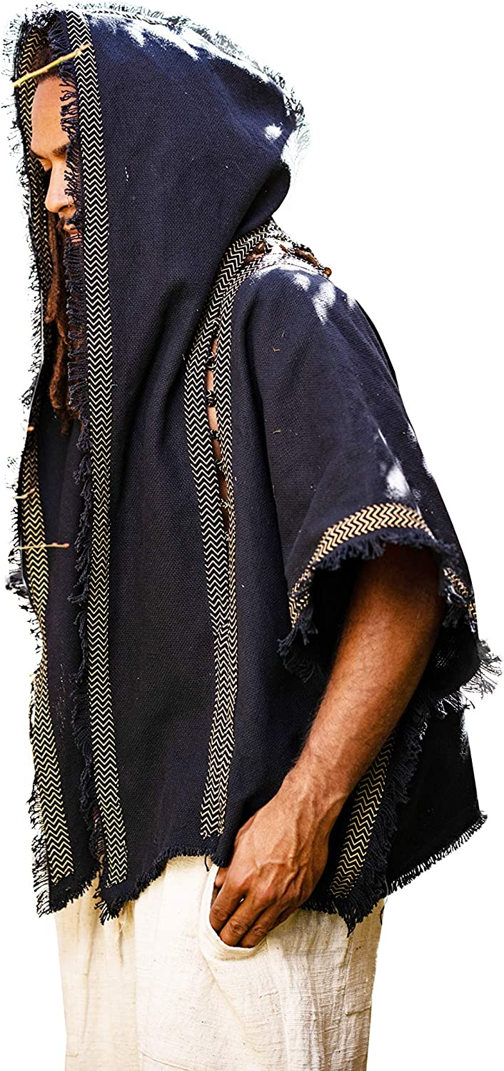 AJJAYA Handmade Mens Cashmere Wool Black Hooded Poncho Two Pockets Ethnic Embroidery Mexican Primitive