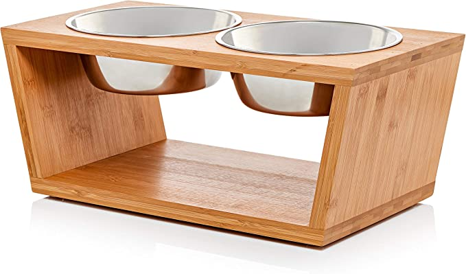 """Premium 7"""" Elevated Dog Pet Feeder, Double Bowl Raised Stand Comes"""