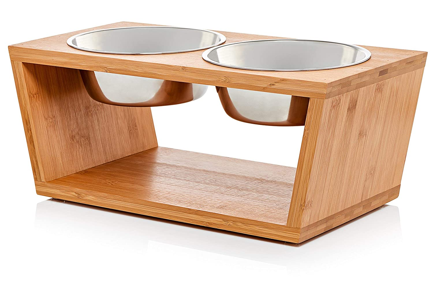 "Premium 7"" Elevated Dog and Cat Pet Feeder, Double Bowl Raised Stand Comes with Extra Two Stainless Steel Bowls. Perfect for Dogs and Cats."