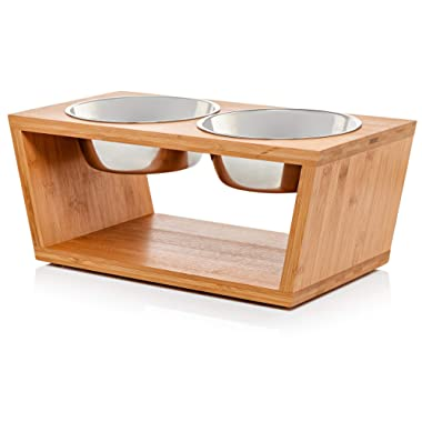 Premium 7  Elevated Dog and Cat Pet Feeder, Double Bowl Raised Stand Comes with Extra Two Stainless Steel Bowls. Perfect for Dogs and Cats.