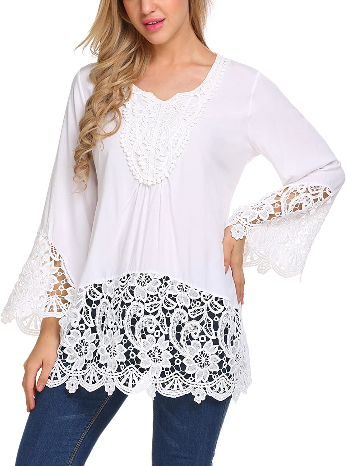 SoTeer Womens Casual V Neck Loose Top Flare Sleeve Lace Splice Blouse Shirt Tops S-XXL: Clothing