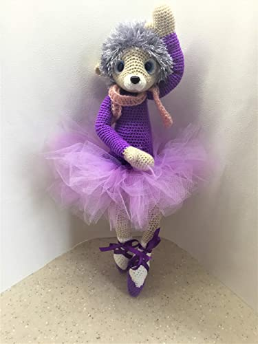 Interior Toy Soft Toy Hedgehog Dancing Doll Hedgehog Handmade Knitted Doll Ballerina Toy Hedgehog for Children or Home Decor