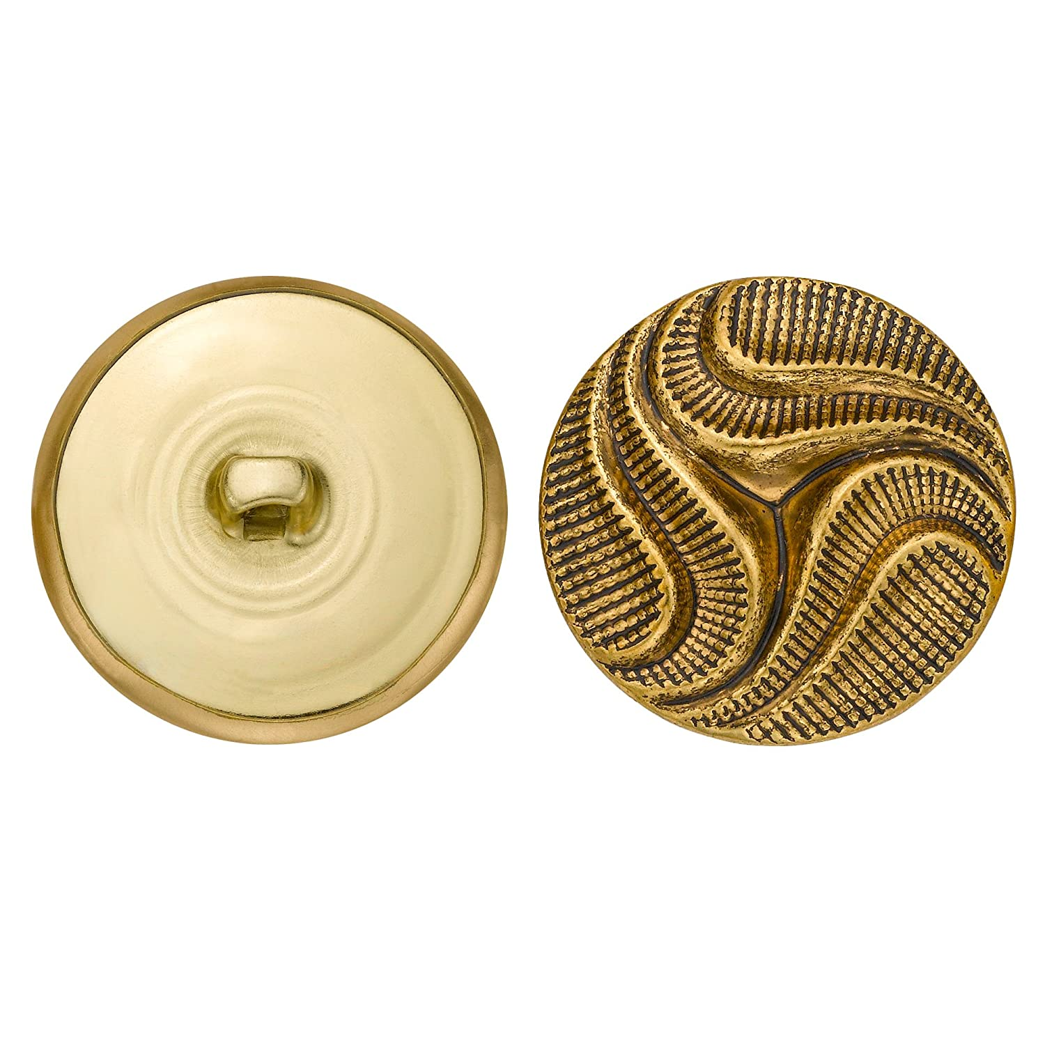 C C Metal Products 5082 Modern Swirl Metal Button Size 45 Ligne Antique Gold 36 Pack