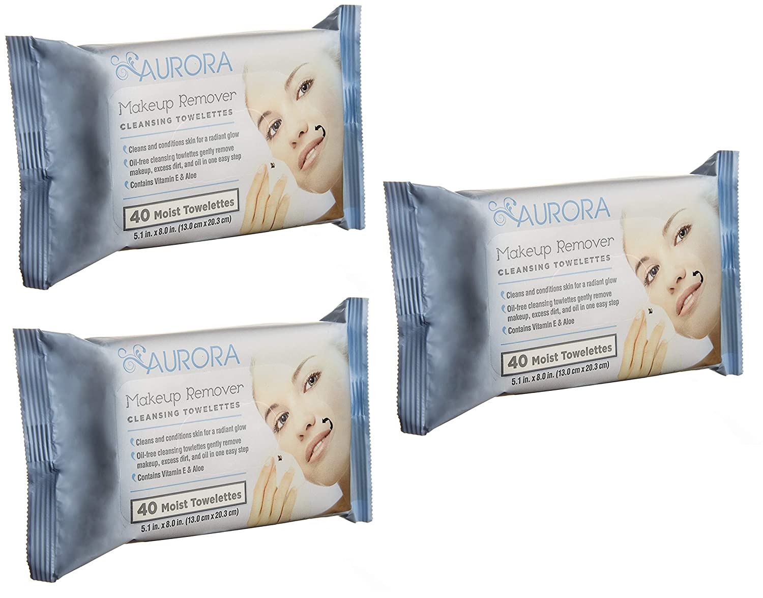 """120 Aurora Makeup Remover Cleansing Towelettes 5.1"""" x 8"""". Hypoallergenic Wipes to remove Dirt, Oil, Makeup, Waterproof Mascara. Paraben-free, Alcohol-free Refreshing wipes. 3 pack of 40 each."""