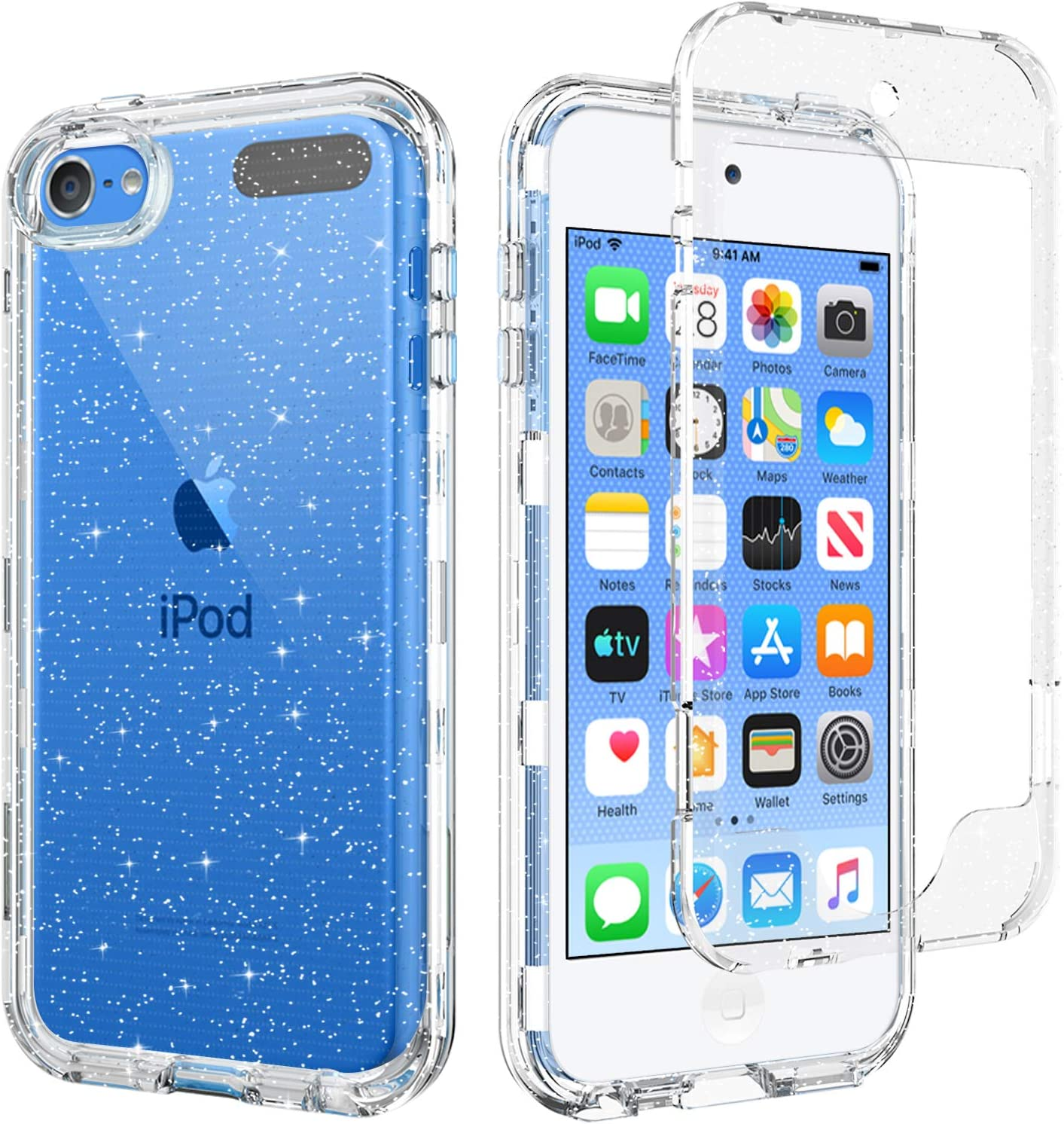 BENTOBEN iPod Touch 7th Generation Case, iPod Touch 6th / 5th Generation Case, Transparent Clear 3 in 1 Heavy Duty Rugged Full Body Shockproof Protective Phone Cover, Silver Glitter Crystal Clear
