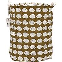 "Sea Team 19.7"" x 15.7"" Large Sized Folding Cylindric Waterproof Coating Canvas Fabric Laundry Hamper Storage Basket with Drawstring Cover"