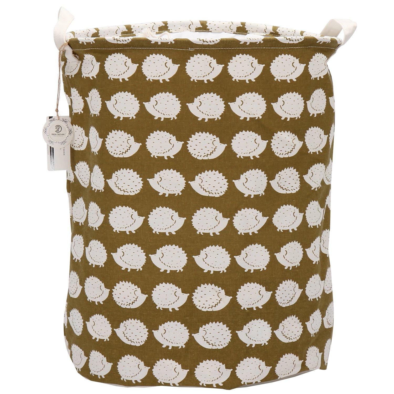 Sea Team Folding Cylindric Waterproof Coating Canvas Fabric Laundry Hamper Storage Basket with Drawstring Cover, Polar Bear ST-LH0509H