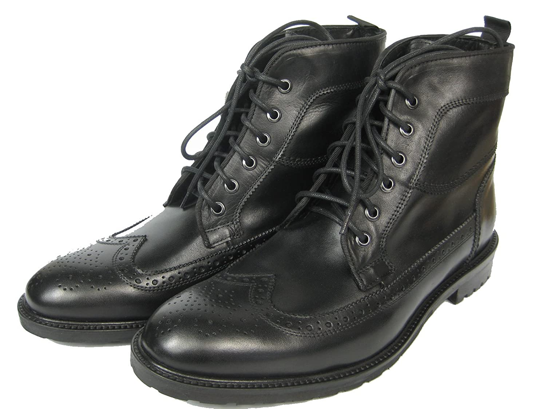 GIORGIO SCARPE Budapester Leder Brogue Schuh Boot Stiefel NE10 schwarz  whisky/Kastanie Schwarz