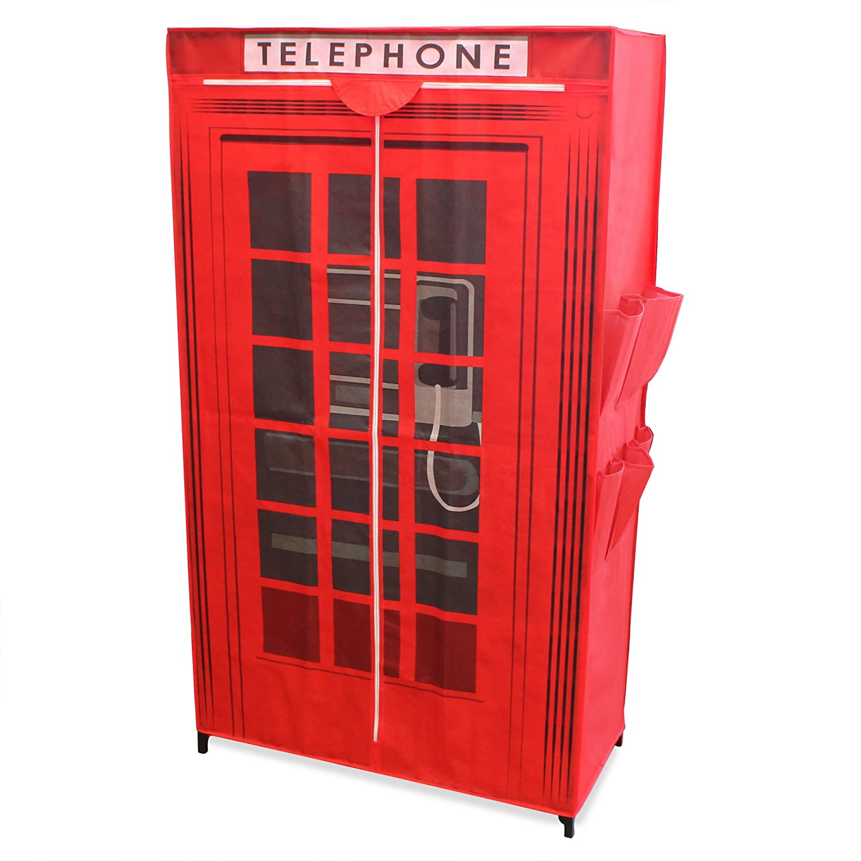 [neu.holz] Armario para ropa de tela con el diseño inglés de una cabina telefónica