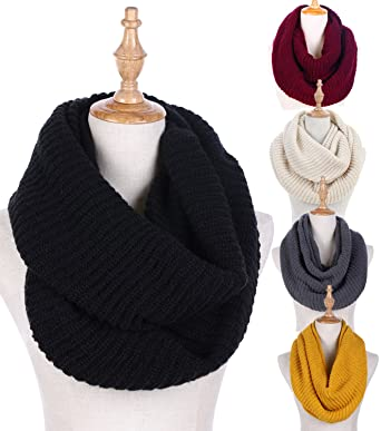 infinity scarves. knit winter infinity scarf for women fashion thick warm circle loop scarves black