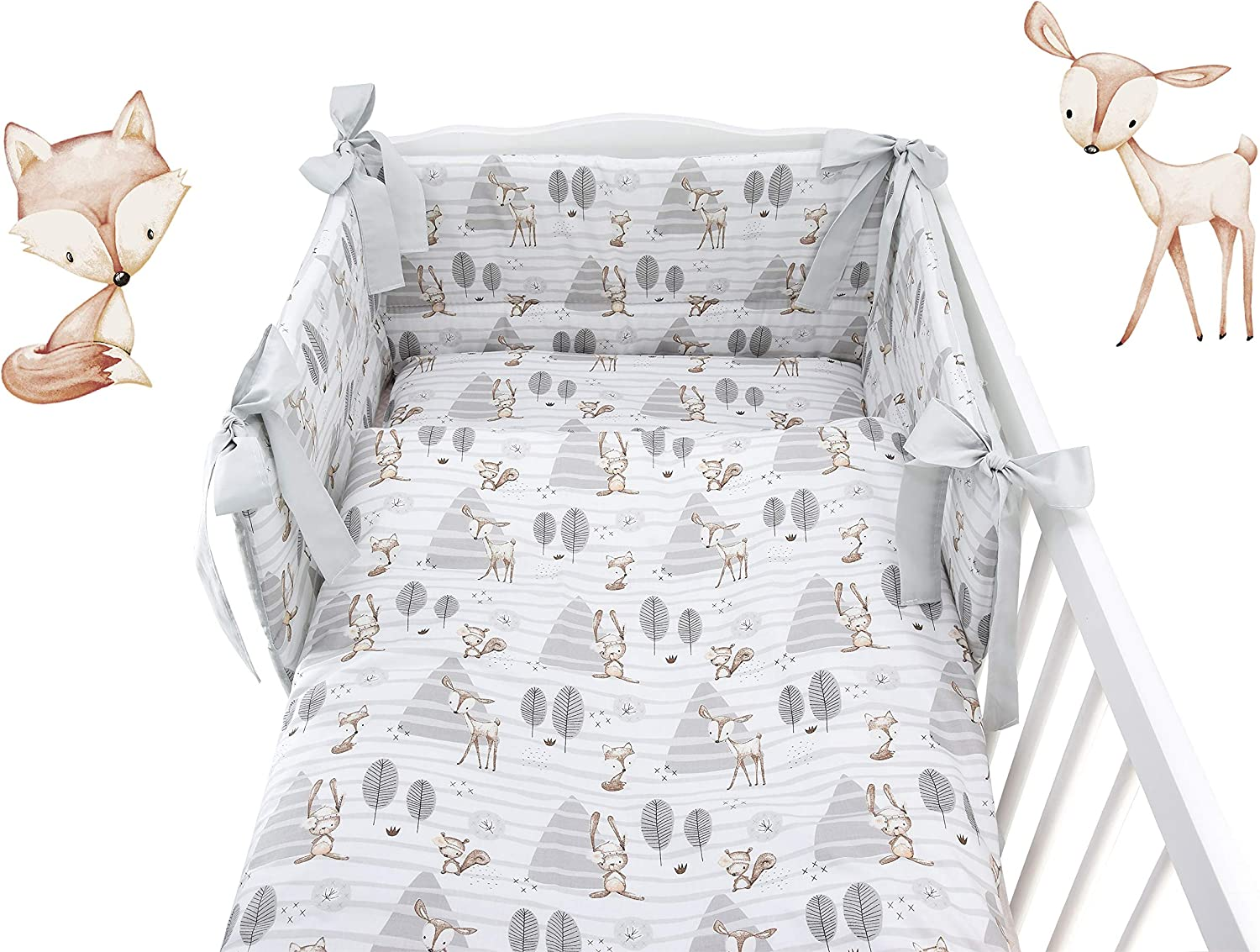5 Pieces Baby Cot Bedding Set for COT 120X60 OR COT Bed 140X70cm Inc -Duvet+Pillow+Duvet Cover+Pillow CASE+ Bumper Mattress Size Birds with Flowers//Grey Back, COT 120X60
