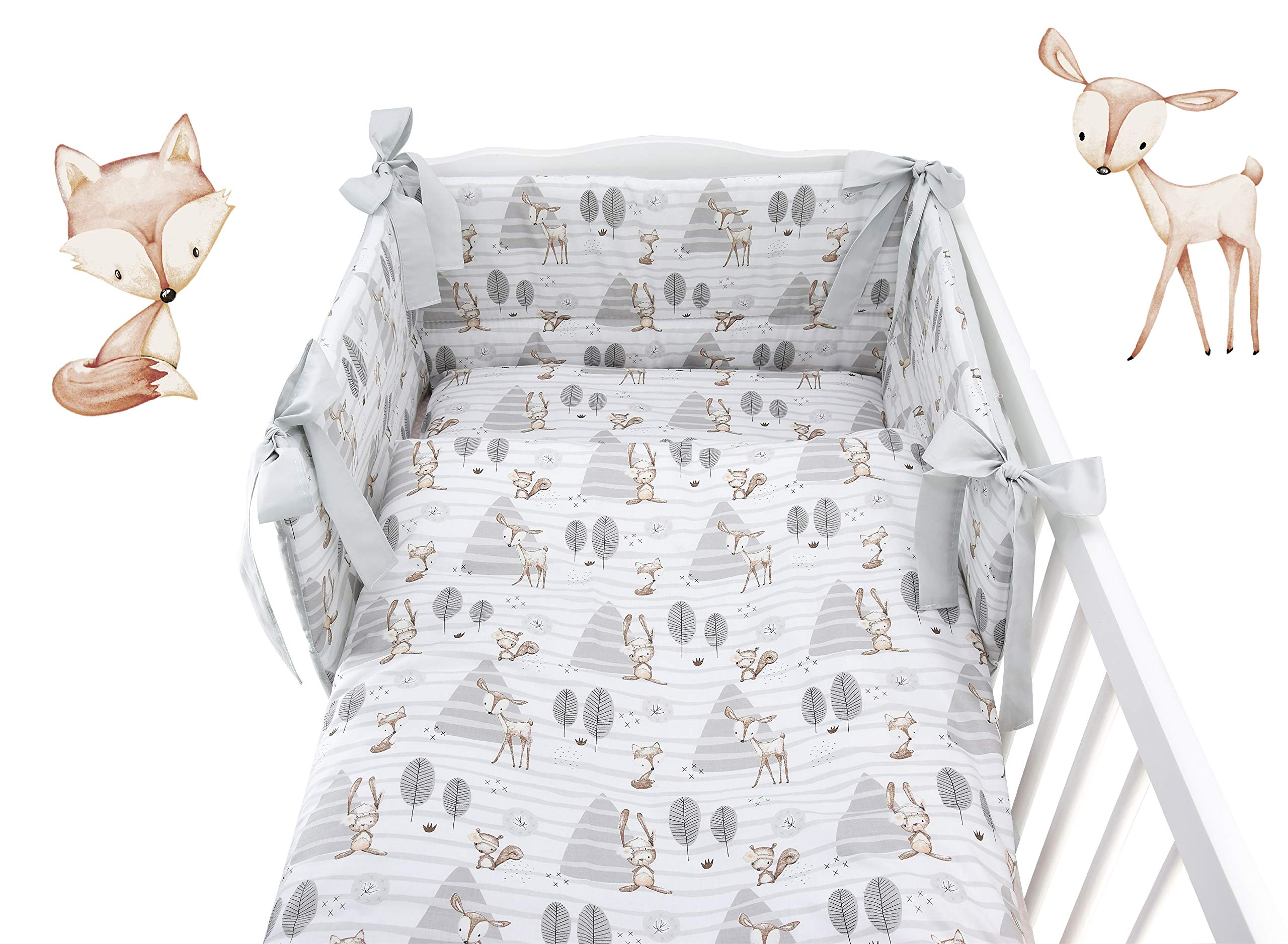 BABY 6PCS BEDDING SET BUMPER PILLOW DUVET SHEET FIT COT 120x60 100/% COTTON
