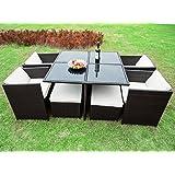 Merax 9-piece Outdoor Cube Rattan Garden Furniture Set Wicker Rattan Desk and Chairs (Brown)
