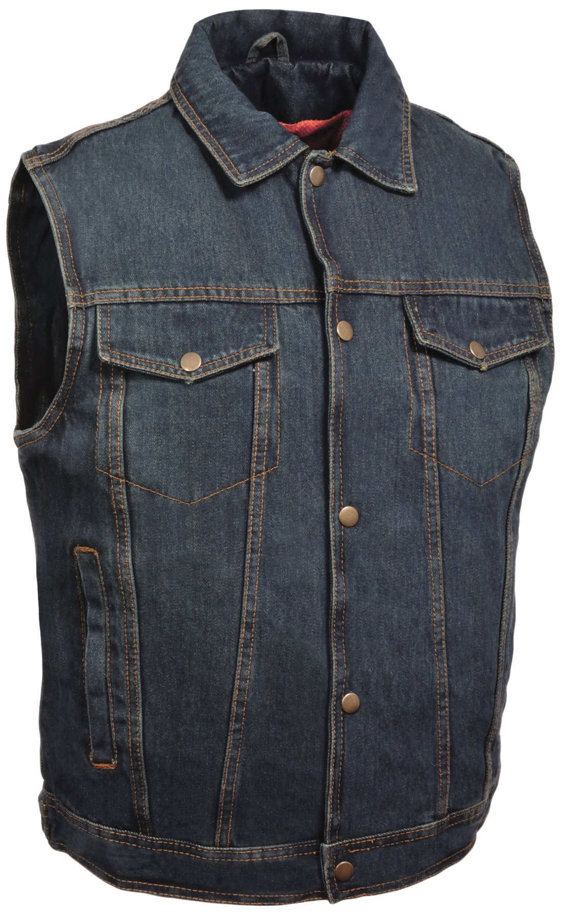 Milwaukee Performance Men's Shirt Collar Denim Vest (Blue, Medium)