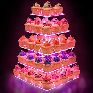 YestBuy Cupcake Stand – 5 Tier Premium Cupcake Holder – Acrylic Cupcake Tower Display – Cady Bar Party Décor –Acrylic Display for Pastry + LED Light String – Ideal for Weddings, Birthday (Pink)