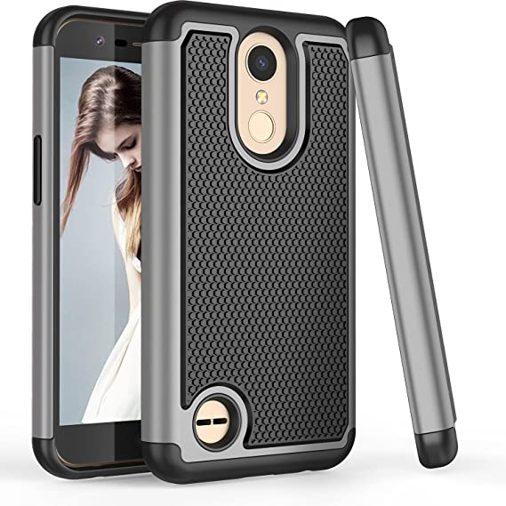 LG K20 V Case, LG K20 Plus Case for Men Women, LG K10 2017 Cute Case, TILL(TM) [Shock Absorption] [Gray] 2 in 1 Hybrid Armor Defender Protective Case ...